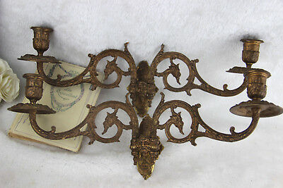 PAIR empire bronze wall candelabras sconces L pinet signed Dragon faun head
