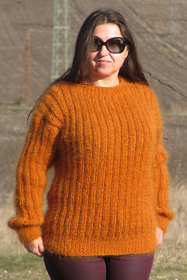 MOHAIR Hand Knitted Sweater Crewneck Fuzzy Pullover Jumper Unisex Soft Fluffy