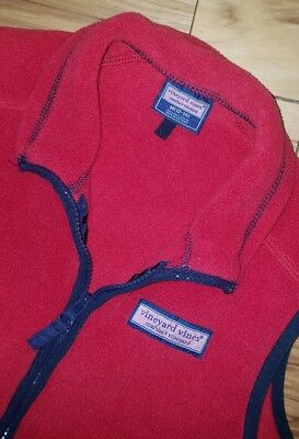 Boys Youth Vineyard Vines Sleeveless Fleece Vest Size Medium M 12-14 Red