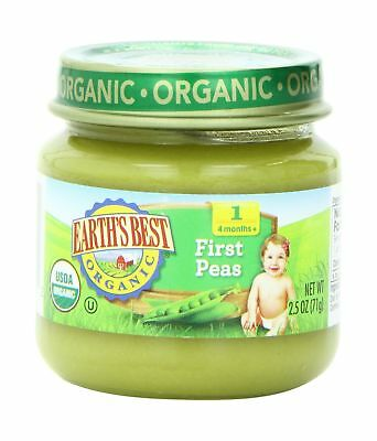 Earth's Best Organic Stage 1 Baby Food Peas 2.5 Ounce Jars Pack of 12
