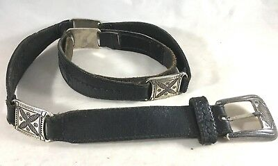 Fossil Vintage Black Leather Silver Metal Sz L Western Country Rustic 90s