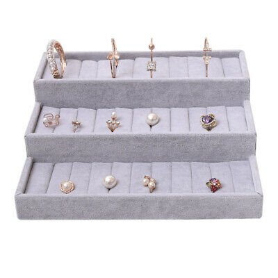 Blesiya Velvet Jewellery Display Stand Ring Cufflinks Holder Tray Gift Boxes