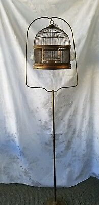 Vintage Hendryx Bird Cage With Cast Iron Stand With Glass  Feeder And Water