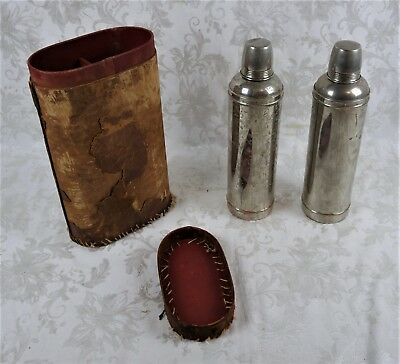 Pair Antique Metal Thermos Original Cork Stopper With Leather Case Vintage 1908