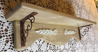 "Hand Painted 22"" Tan Cottage Shabby Distressed* Wall Shelf Rusted Metal Corbels"