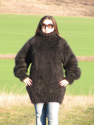 MOHAIR Hand Knitted BLACK Sweater Turtleneck Unisex Pullover Jumper Fluffy Fuzzy
