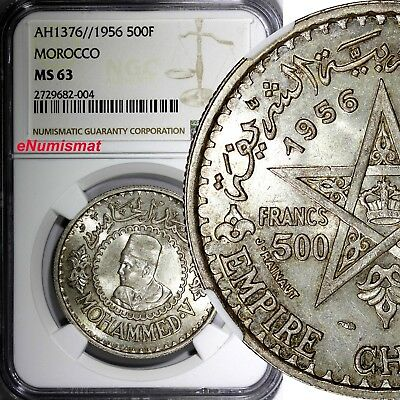 Morocco Mohammed V Silver AH1376//1956 500 Francs NGC MS63 1 YEAR TYPE Y# 54