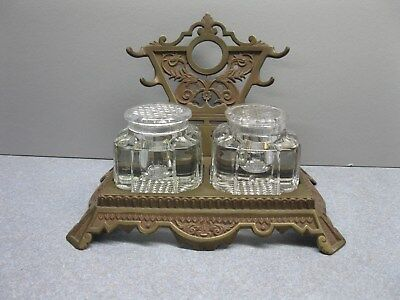Vintage Brass Plated Cast Iron Inkwell Pen Holder With Two Glass Wells