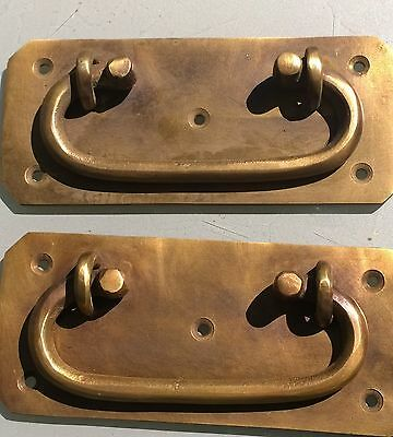 "2 BOX HANDLES chest brass furniture antiques old vintage style 5"" solid BRASS"