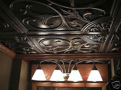 Faux Tin Ceiling Tile Antique Backsplash PVC Bronze Copper Gold Nickel Silver