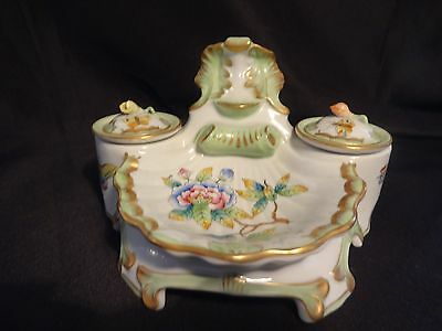 Antique Herend Porcelain Inkwell Hand Painted Double Inkpots 1915-1930