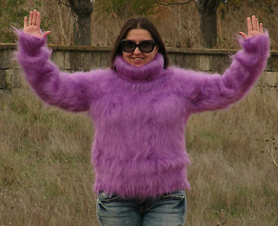 MOHAIR Hand Knitted ORCHID Sweater Turtleneck Mock Fuzzy Pullover Jumper Unisex