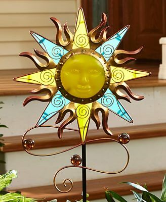 Glow In The Dark Sunface Yard Stake Lawn Garden Ornament Metal & Glass Art Decor