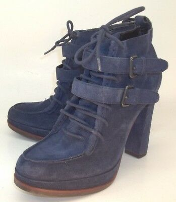 46bf87464f32 Dolce Vita Wos Boots Heels US 9 Blue Suede Zip Lace-Up Buckle Moc Toe
