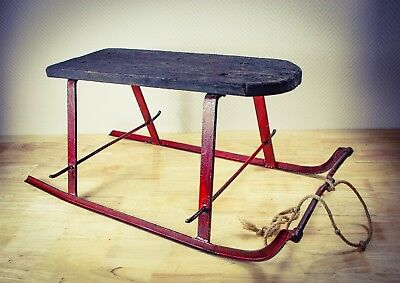 Antique 1900s SLEIGH Wood & Iron Snow iron curlicue runners Vintage Winter Sled