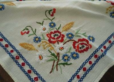 """Vintage European Embroidered Tablecloth Red Blue Flowers French Knots Wheat 45"""""""