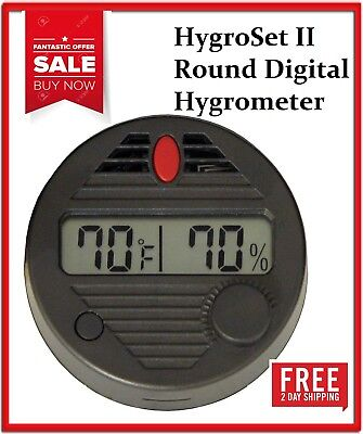 Quality Importers HygroSet II Round Digital Hygrometer for Humidors Battery Incl