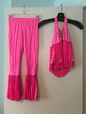 Dance Costume Handmade Girls Size SMALL Hot Pink Fringe Top/Pants