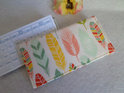 Feathers Fabric Checkbook Cover, Handmade