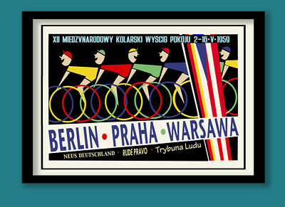 VINTAGE CYCLING POSTER. MID CENTURY POLISH BIKE RACE . LARGE A2 (60X40cm) PRINT