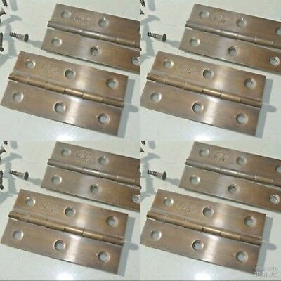 "8 small hinges vintage aged style solid Brass DOOR light restoration 3"" screws"