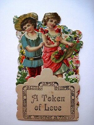 Vintage Small Elaborate 1920s  Antique Valentine Card w/ Sweet Couple   *