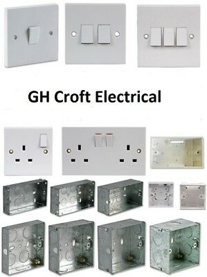 Light Switch Electrical Socket Single Double Moulded/ Metal Boxes  **DISCOUNTS**