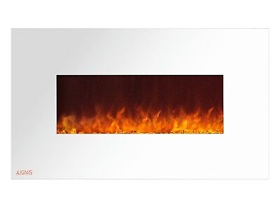 Ignis Royal White 36 inch Wall / Recessed Mount Electric Fireplace with Crystals