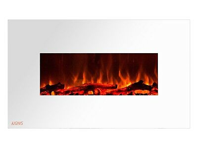 Ignis Royal White 36 inch Wall / Recessed Mount Electric Fireplace with Logs