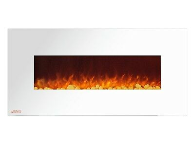 Ignis Royal White 50 inch Wall / Recessed Mount Electric Fireplace with Pebbles