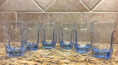 "LIBBEY CHIVALRY Blue - Set of 6! Rock Sharpe Textured 3 3/4"" JUICE glasses 6 oz"
