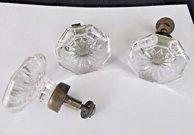 Lot of 3 Vintage Star Faceted Multi-point Clear Glass Door Knob Pulls Drawer