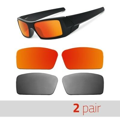 2 pr. Polarized Replacement Lenses for Oakley Gascan S Small Sunglasses Red+Mirr