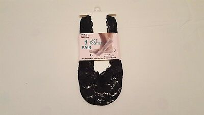 Ladies Lace Footies Socks with Silicone Edge