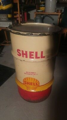 vintage shell grease drum 16 gallon,24 3/4 tall. 14.5 wide.very old.