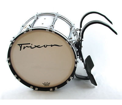 """Trixon Field Series Pro Marching Bass Drum 28 by 14"""" White"""