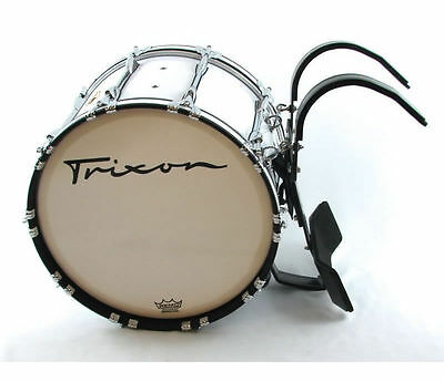 """Trixon Field Series Pro Marching Bass Drum 18 by 14"""" White"""