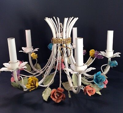 Vintage Italian Floral Tole Ware Chandelier 5 Arm Lamp Flowers Hanging Light