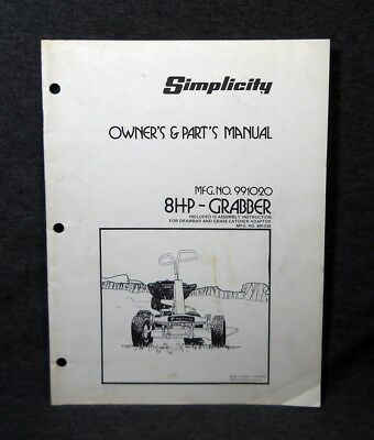 vintage simplicity yeoman 648 garden tractor parts list owners rh picclick com simplicity owners manual op15a simplicity 38 dehumidifier owner's manual