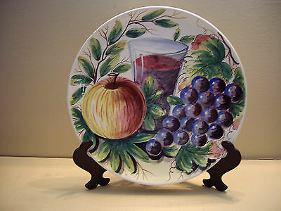Signed Milti Hand Painted Stoneware Round Wine Inspired Serving Plate  Italy