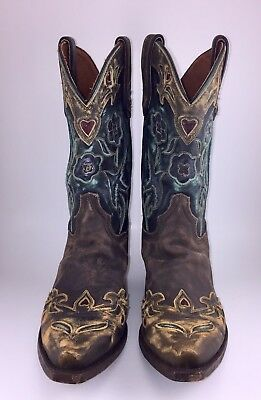 Dan Post Vintage Blue Bird Womens 10M Brown Leather Cowboy Western Boots 3544