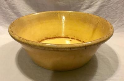 Antique Primitive Canted Side Large Yellow Ware Bowl Very Old Rare Stoneware