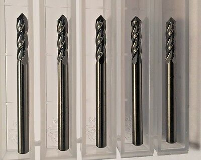 "New 1/8"" (.1250"") Carbide 4 Flute Drill And Mill 90 Degree Point 5-Pack Usa Made"