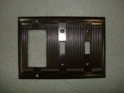 Vintage National Uniline Brown Decora GFCI Switch Cover Plate 3 Gang Ribbed