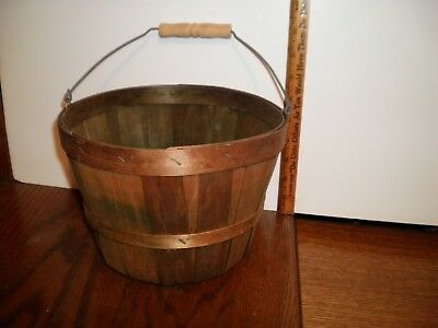 Small Vintage Wooden Apple Picking Basket Wood & Wire Handle Fruit Orchard