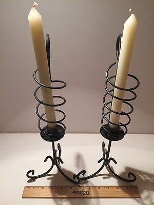 VINTAGE Wrought Iron Haunted CANDELABRAS Candle Flame Year Round Halloween