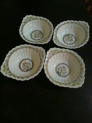 4 Vernon Kilns Metlox Hibiscus lugged Chowder coupe soup cereal bowls SALE
