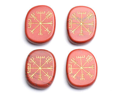 Natural Red Jasper Engraved Ancient Norse Viking Rune Vegvisir Symbol Palm Stone