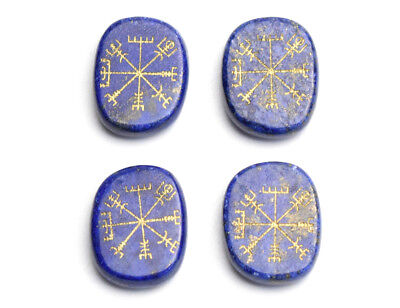 Natural Lapis Lazuli Engraved Ancient Norse Viking Vegvisir Symbols Palm Stone