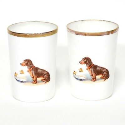Porcelain Small Tumbler Gold Trim Two Dachshund Dog Decal Cup
